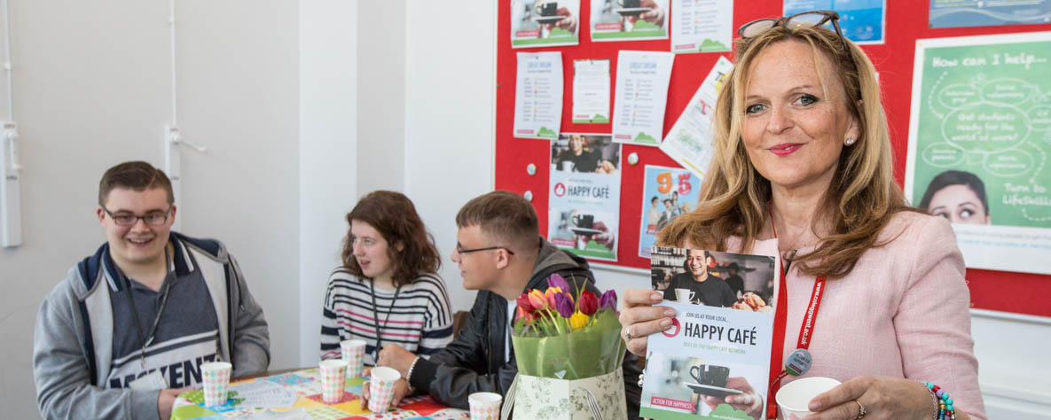 Lecturer Victoria English during her Happy Cafe campaign