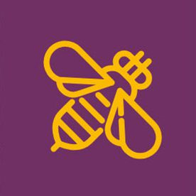 Bee icon on purple background