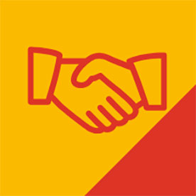 red handshake icon on yellow/red background