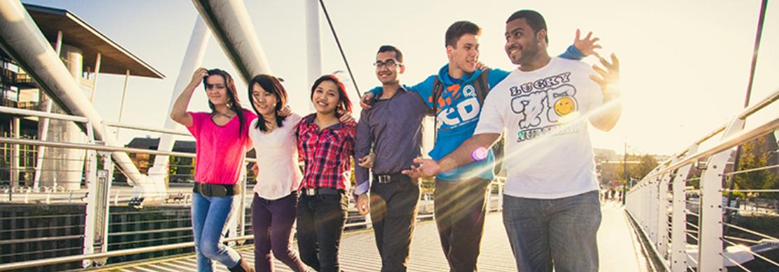 People on Newport bridge