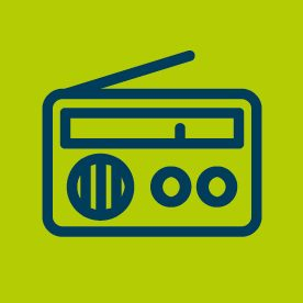 Radio icon on green background
