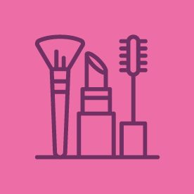 Beauty product icons on pink background