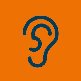 Ear icon on orange background