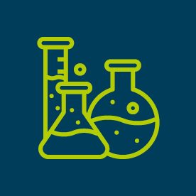 Laboratory glassware icons on blue background