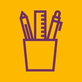 Stationery pot icon on yellow background