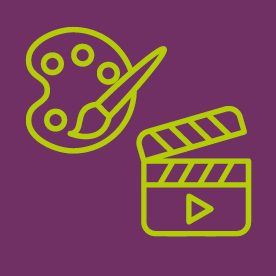 Artist palette and clapper board icons on purple background