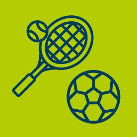 Tennis racket and football icons on green background