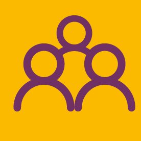 group of people icon on orange background