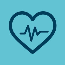 heart and pulse icon on blue background
