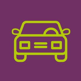 Car icon on purple background