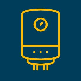 Heater icon on blue background