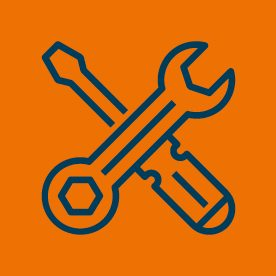 Tool icons on orange background