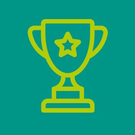 Trophy icon on green background