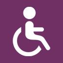 Wheelchair icon on purple background
