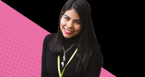 female learner on pink background