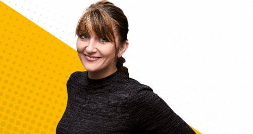 female on yellow background