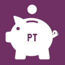 Piggy bank on purple background with the letters PT