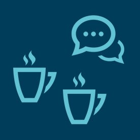 light blue coffee cups and speech bubble icons on dark blue background