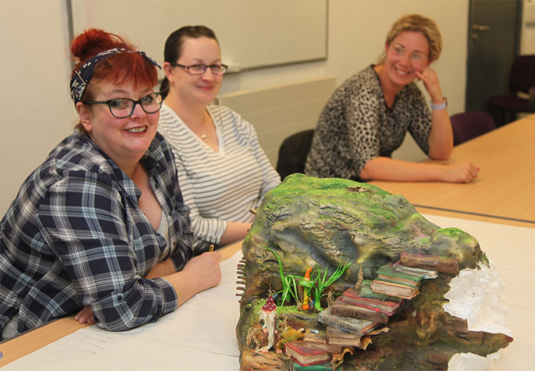 Community learners with art project
