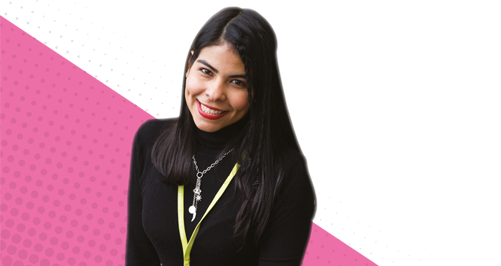female learner on pink background