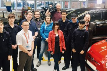 BBC X-Ray's Lucy Owen with Coleg Gwent staff and learners