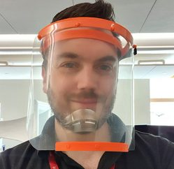 Dan Lockett wearing 3D printed face visor