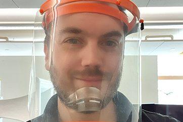 Dan Lockett wearing 3D printed face visor