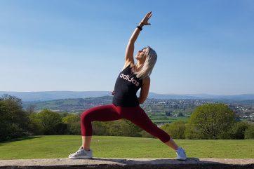 Danielle Hall in yoga pose