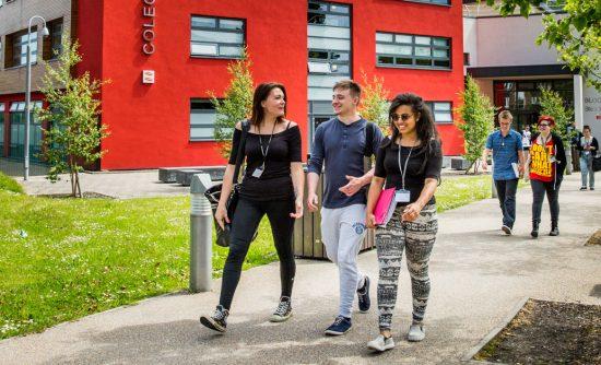 Learners walking through Crosskeys campus