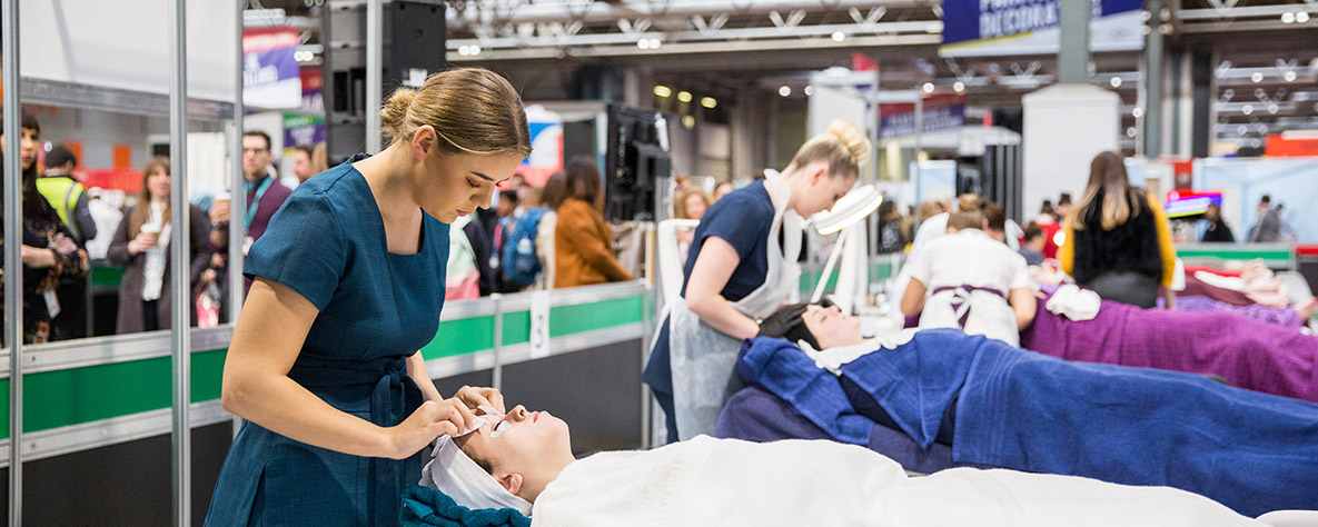 Beauty Therapy WorldSkills learners in competition
