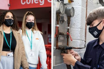 Students in Coleg Gwent face masks