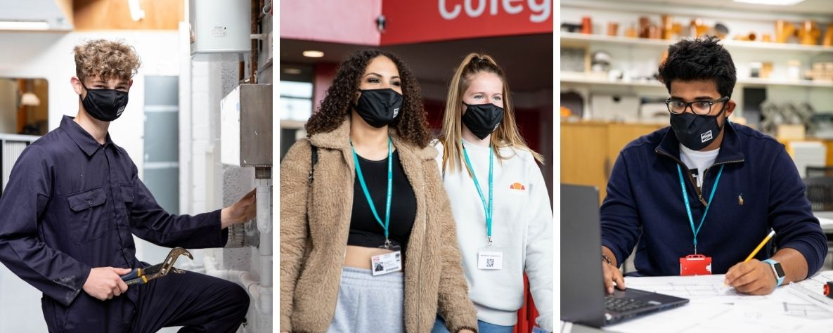 Coleg Gwent learners wearing Coleg Gwent face masks
