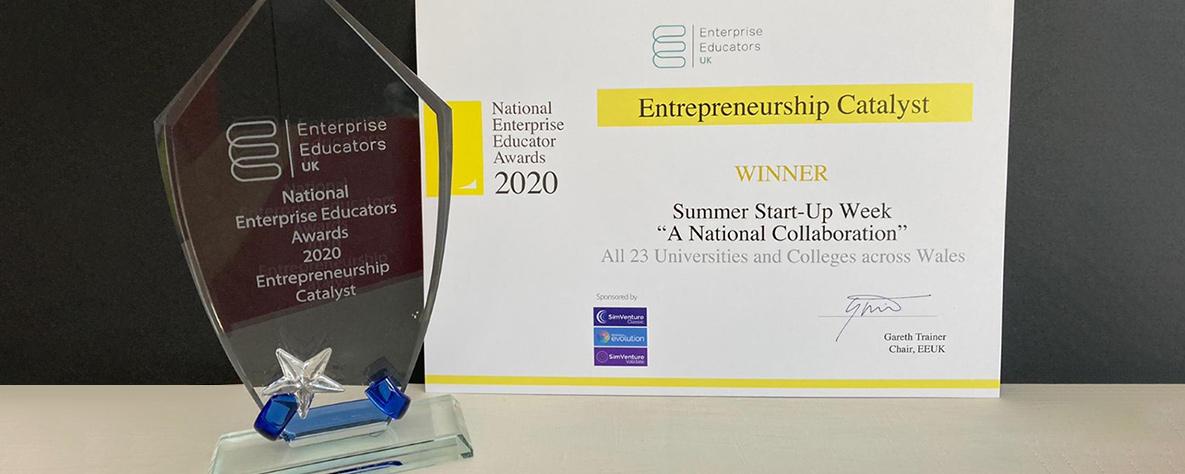 Entrepreneurship Catalyst award and certificate