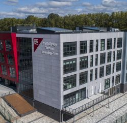 Aerial shot of Torfaen Learning Zone building