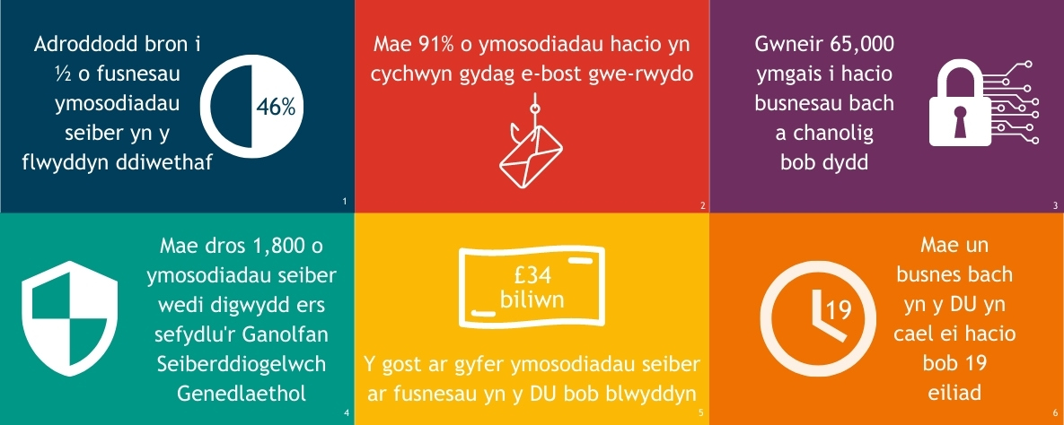 Facts about cyber security - infographic cymraeg