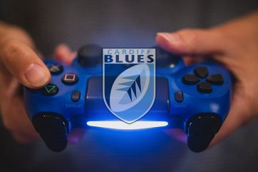 Gaming controller with Cardiff Blues logo