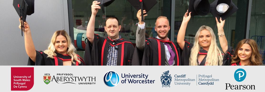 Graduates with university partner logos