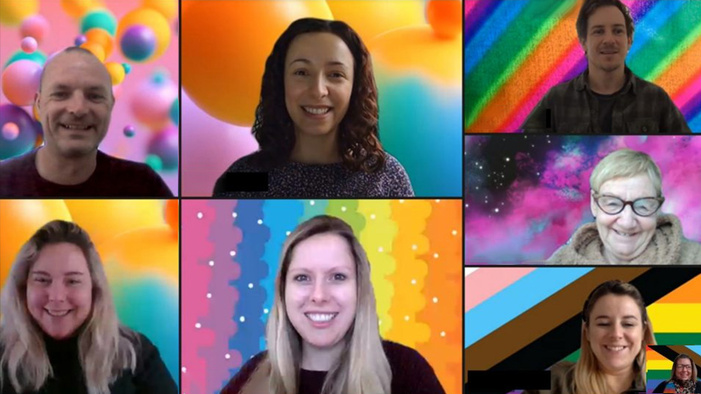 Virtual Team Meeting with rainbow backgrounds