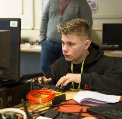 Jack Bright at a computer