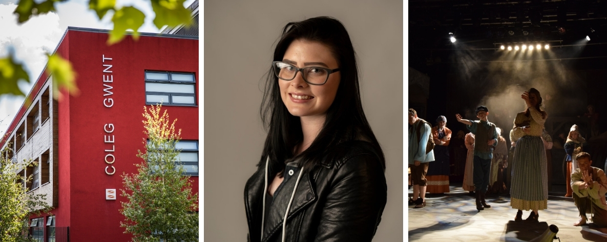 Kayleigh Barton headshot and Crosskeys campus and performers on stage