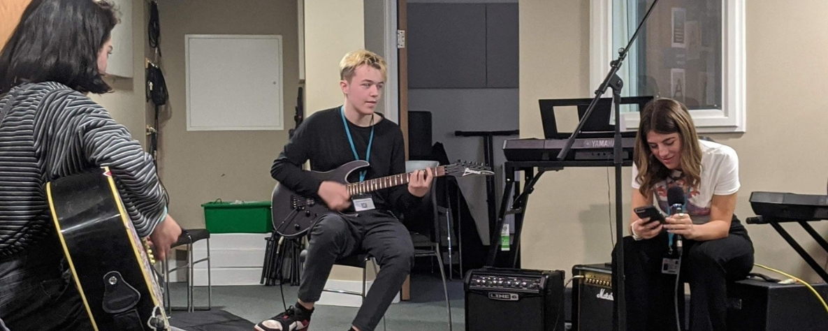 Rock School Album Recording - Learners in studio