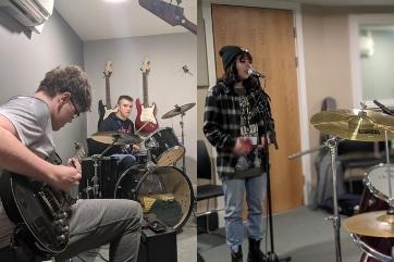 Learners recording rock school lockdown album