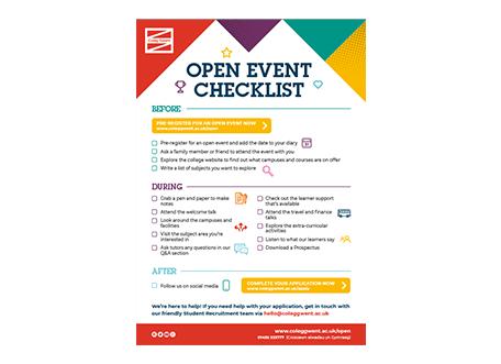 Open event checklist