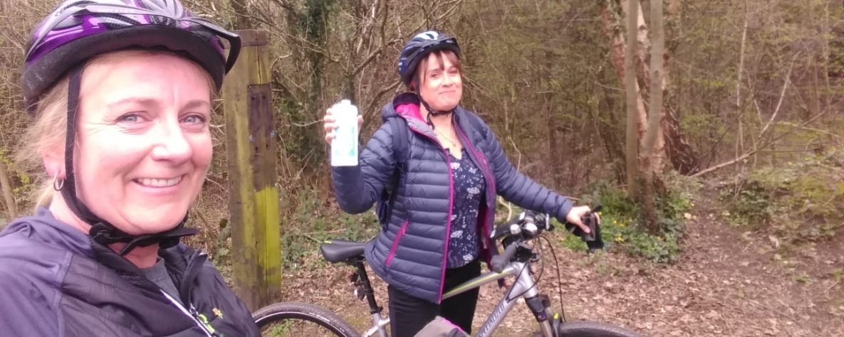 Sally Sexton and friend on bike ride for St David's Hospice Care