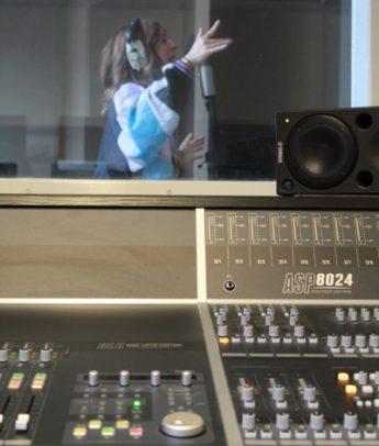 Laura Huckbody in the recording studio