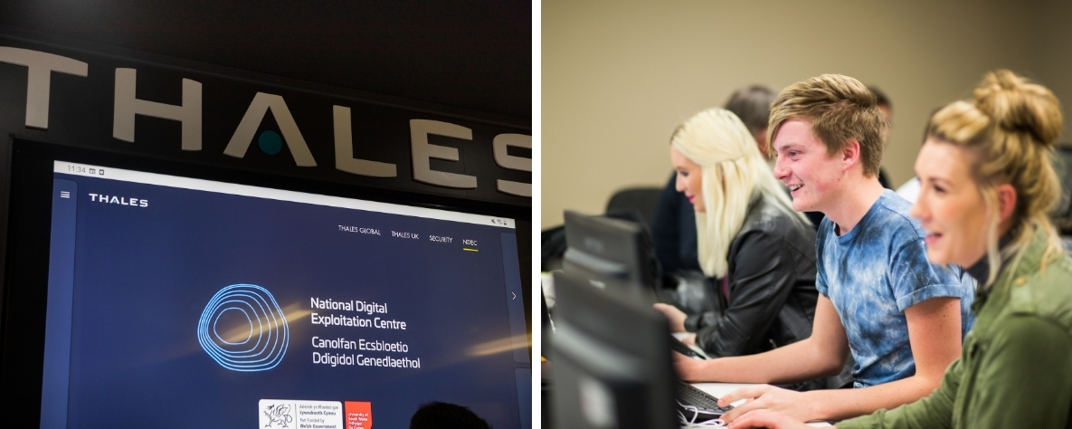 Cyber and digital Thales sign and students working at computer