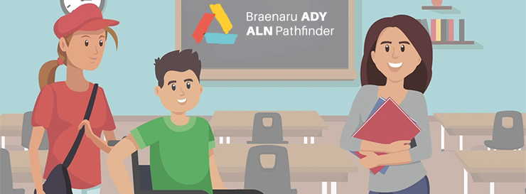 Learners in classroom with ALN Pathfinder logo