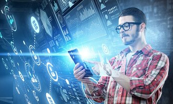 Man in glasses looking at mobile on cyber network background
