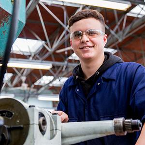 Learner Callum Abdie using machinery