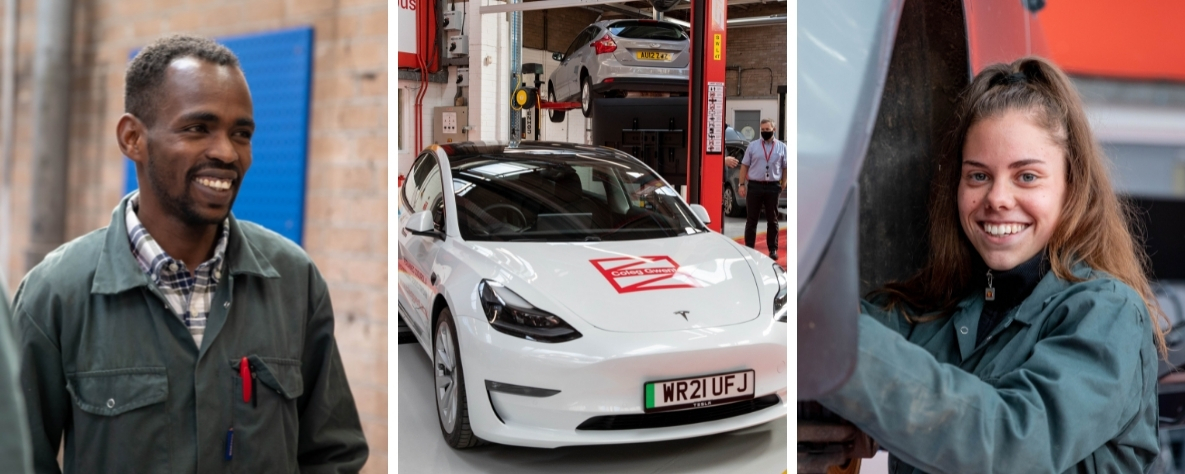 Engineering-and-automotive-students-and-Coleg-Gwent-Tesla